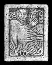 "Early medieval Celtic carving, ""The Lovers"""