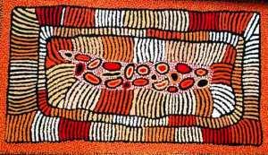 Australian aboriginal art (acrylic on linen) by Nelli Marks Nakamarra b. 1976