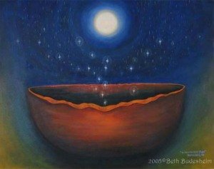 """As Dreams Take Flight"" (#2 of 'Shaman's Bowl) by visionary artist Beth Budesheim"