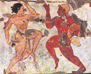 """Ritual Dance"", 6th Century B.C. Etruscan, female on left, male on right"