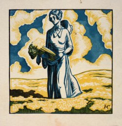 """Woman in Field with Celery"", vintage illustration, Harry Cimino (1898-1969"