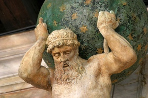 photo of statue of Atlas the Titan