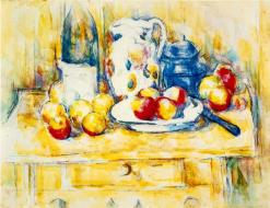 Still Life with Apples, a Bottle, and a Milk Pot, Watercolor, 1902-1906, Paul Ceanne