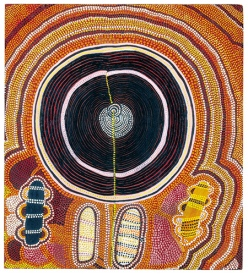 "Shorty Lungkarta Tjungurrayi's ""Mystery Sand Mosaic"", 1974 (Photo: Grey Gallery), from a post on Aboriginal art at the blog ""Slow Muse"" by visual artist Deborah Barlow"
