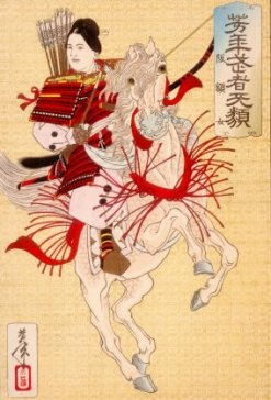 Hangaku Gozen, a Genpei War-era female samurai, who was allied with the Taira Clan, c. 1200. Woodblock print by Yoshitoshi (1839-1892)