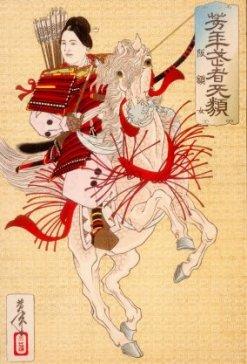Hangaku Gozen, a Genpei War-era female samurai, who was allied with the Taira Clan, c. 1200. Woodblock print by Yoshitoshi (1839-1892)