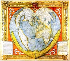 Medieval French, heart-shaped map of the world from the inimitable site, vintageprintable.com.