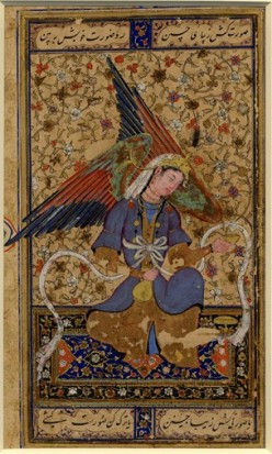 "This manuscript painting (opaque watercolor and gold on paper) depicts a Persian ""angel"" seated on a carpet. c. 1555"