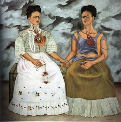 Las Dos Fridas (The Two Fridas), oil painting by Frida Kahlo, 1939. Click through for (bilingual) commentary on this painting.
