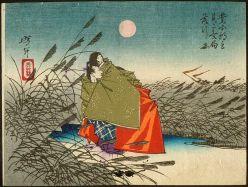 """""""Narihira and Nijō no Tsubone at the Fuji River"""" -- Sketches by Yoshitoshi (1882)   The Public Domain Review"""