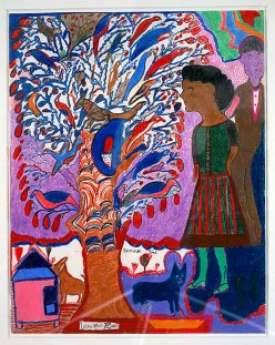 """""""Summer Time"""" by Georgia-born, folk artist Nellie Mae Rowe (1900-1982), now recognized as one of the most important American folk artists. (Wikipedia)."""